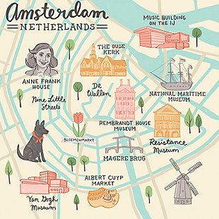 Oopsy Daisy World Traveler - Amsterdam Netherlands by Anne Bollman Posters That Stick, Beige, large