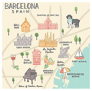 Oopsy Daisy World Traveler - Barcelona Spain by Anne Bollman Posters That Stick, Beige, rollover