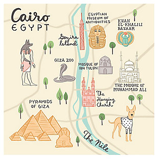 Oopsy Daisy World Traveler - Cairo Egypt by Anne Bollman Posters That Stick, Beige, rollover
