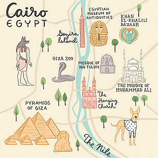 Oopsy Daisy World Traveler - Cairo Egypt by Anne Bollman Posters That Stick, Beige, large