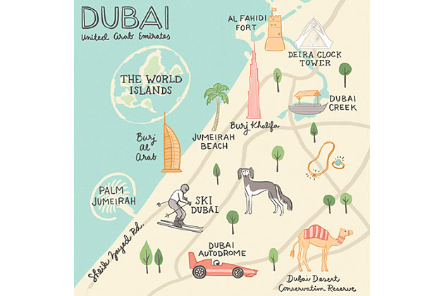 Oopsy Daisy World Traveler - Dubai UAE by Anne Bollman Posters That Stick, Beige, large