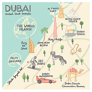 Oopsy Daisy World Traveler - Dubai UAE by Anne Bollman Posters That Stick, Beige, rollover