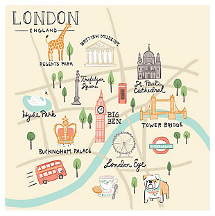 Oopsy Daisy World Traveler - London England by Anne Bollman Posters That Stick, Beige, large