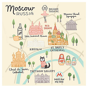 Oopsy Daisy World Traveler - Moscow Russia by Anne Bollman Posters That Stick, Beige, rollover