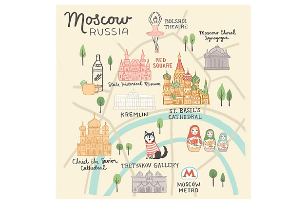 Oopsy Daisy World Traveler - Moscow Russia by Anne Bollman Posters That Stick, Beige, large