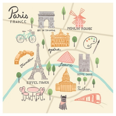 Oopsy Daisy World Traveler - Paris France by Anne Bollman Posters That Stick, Beige, large