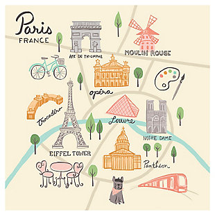 Oopsy Daisy World Traveler - Paris France by Anne Bollman Posters That Stick, Beige, rollover