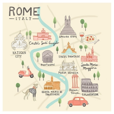 Oopsy Daisy World Traveler - Rome Italy by Anne Bollman Posters That Stick, Beige, large