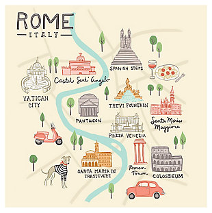 Oopsy Daisy World Traveler - Rome Italy by Anne Bollman Posters That Stick, Beige, rollover