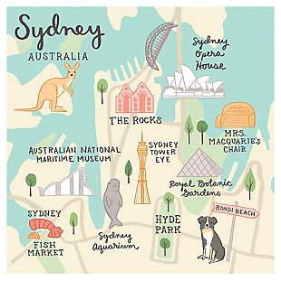 Oopsy Daisy World Traveler - Sydney Australia by Anne Bollman Posters That Stick, Beige, large