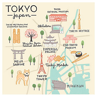 Oopsy Daisy World Traveler - Tokyo Japan by Anne Bollman Posters That Stick, Beige, rollover