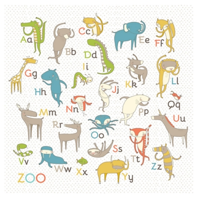 Oopsy Daisy Zoo Alphabet - Boy by Nicole LaRue Posters That Stick, White, large