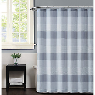 Pem America Truly Soft Grey Multi Stripe Shower Curtain, , large