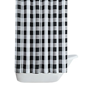 Pem America Truly Soft Everyday Buffalo Plaid Black Shower Curtain, , large