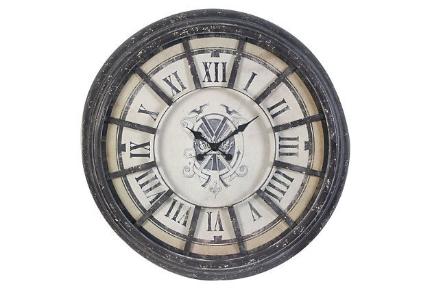 Black Home Accents Wall Clock by Ashley HomeStore