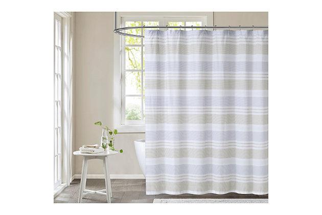 Pem America Cottage Classics Spa Stripe Shower Curtain, , large