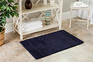 Safavieh SpaPlush Pencil Stripe Bath Mats (Set of 2), Navy, rollover