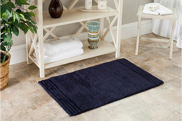 Safavieh SpaPlush Pencil Stripe Bath Mats (Set of 2), Navy, large