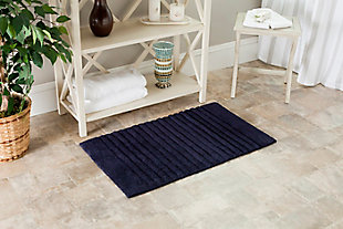 Safavieh SpaPlush Channel Stripe Bath Mats (Set of 2), Navy, rollover