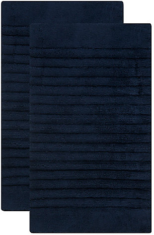 Safavieh SpaPlush Channel Stripe Bath Mats (Set of 2), Navy, large