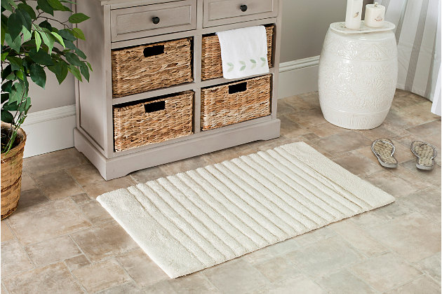 Safavieh SpaPlush Channel Stripe Bath Mats (Set of 2), Natural, large
