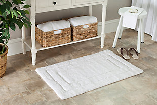 Safavieh SpaPlush Double Frame Bath Mats (Set of 2), White, rollover