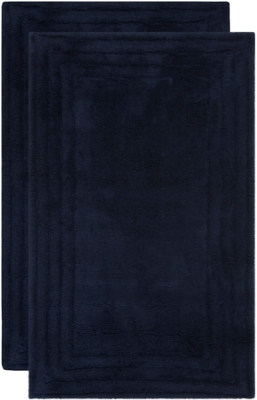 Safavieh SpaPlush Luxe Stripe Bath Mats (Set of 2), Navy, large