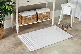 Safavieh SpaPlush Luxe Stripe Bath Mats (Set of 2), White, rollover