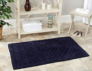 Safavieh SpaPlush Marquis Diamond Bath Mats (Set of 2), Navy, large