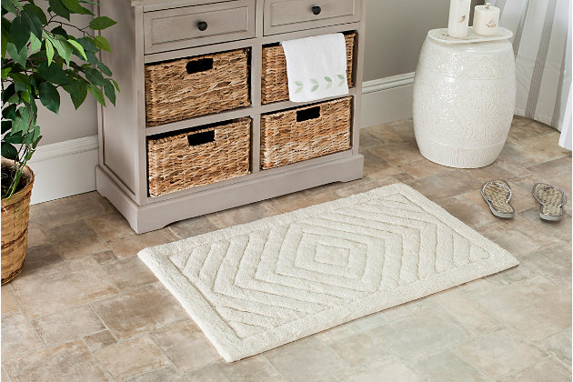 Safavieh SpaPlush Marquis Diamond Bath Mats (Set of 2), Natural, large