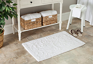 Safavieh SpaPlush Vine Scroll Bath Mats (Set of 2), White, rollover