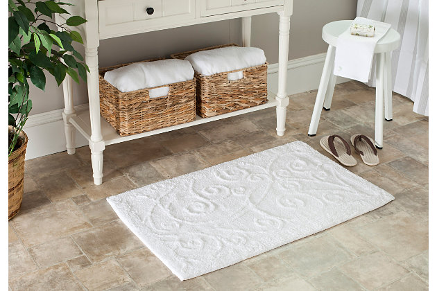 Safavieh SpaPlush Vine Scroll Bath Mats (Set of 2), White, large