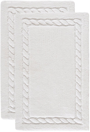 Safavieh SpaPlush Cable Plush Bath Mats (Set of 2), White, large