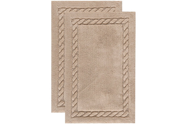 Safavieh SpaPlush Cable Plush Bath Mats (Set of 2), Linen, large