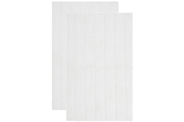 Safavieh Spa Stripe Tufted Bath Mats (Set of 2), White, large