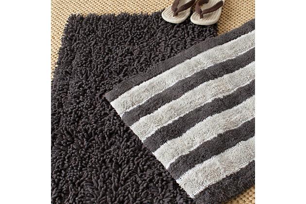 Safavieh Riviera Solid-Stripe Tufted Bath Mats (Set of 2), Gray, large