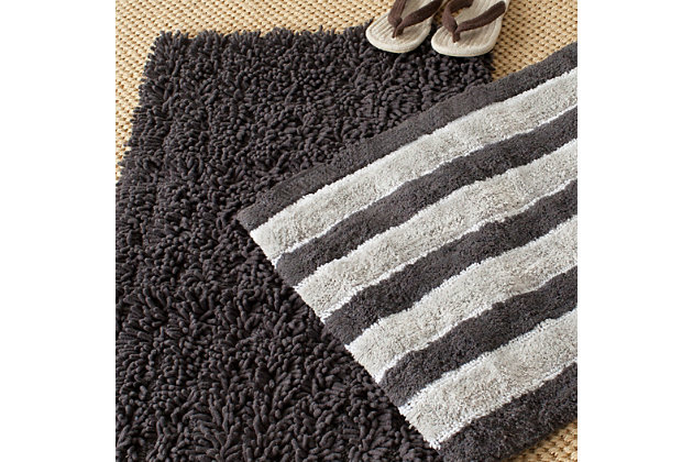 Safavieh Riviera Solid-Stripe Tufted Bath Mats (Set of 2), Gray, large