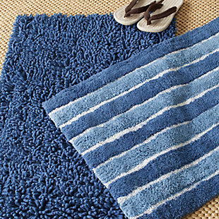 Safavieh Riviera Solid-Stripe Tufted Bath Mats (Set of 2), Marine Blue, rollover