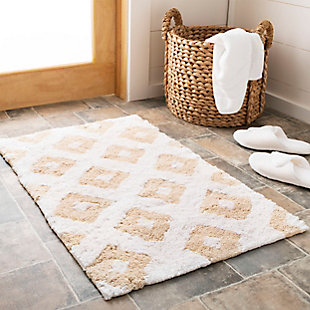 Safavieh Diamond Tufted Bath Mats (Set of 2), Winter Wheat, rollover