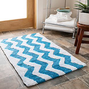 Safavieh Chevron Tufted Bath Mats (Set of 2), Arizona Blue, rollover