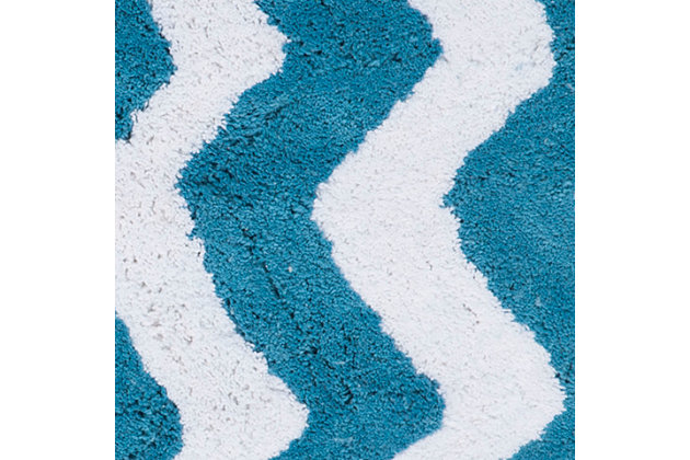 Safavieh Chevron Tufted Bath Mats (Set of 2), Arizona Blue, large