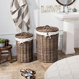 Safavieh Millen Rattan Round Laundry Baskets (Set of 2), , rollover