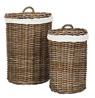 Safavieh Millen Rattan Round Laundry Baskets (Set of 2), , large