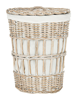 Safavieh Maggy Storage Hamper with Liner, White, large