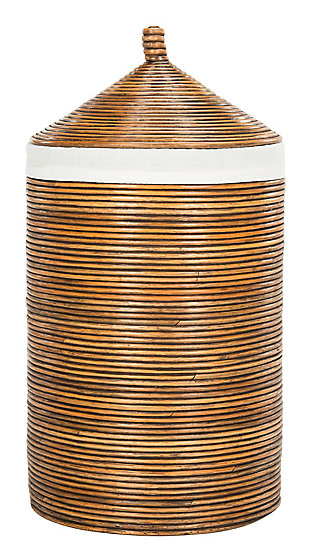 Safavieh Wellington Rattan Storage Hamper with Liner, Honey, large