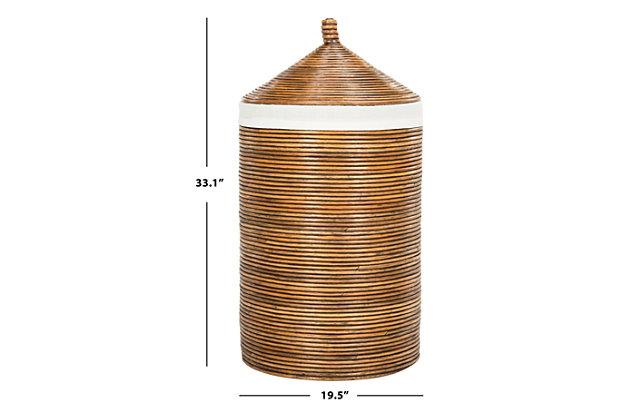 Safavieh Wellington Rattan Storage Hamper with Liner, Honey, large