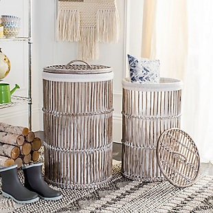 Safavieh Libby Rattan Storage Hamper with Liner, , rollover