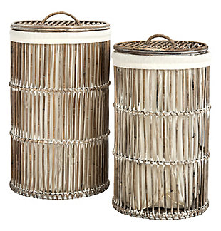 Safavieh Libby Rattan Storage Hamper with Liner, , large