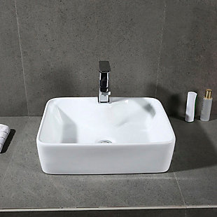 Safavieh Fen Porcelain Ceramic Vitreous Rectangular Bathroom Vessel Sink, , rollover
