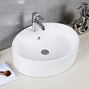 Safavieh Brook Porcelain Ceramic Vitreous Oval Bathroom Vessel Sink, , rollover